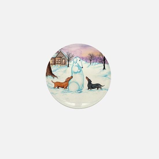Snow Dachshunds Mini Button