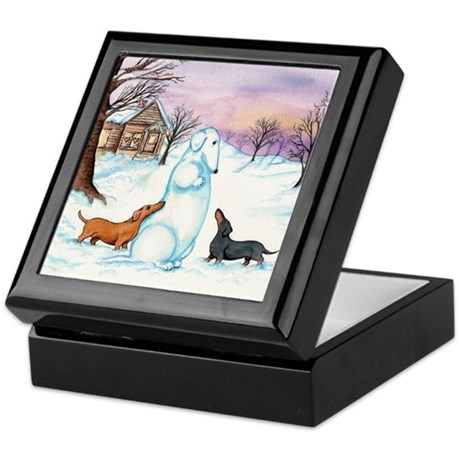 Snow Dachshunds Keepsake Box