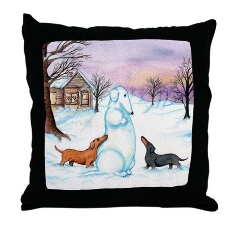 Snow Dachshunds Throw Pillow