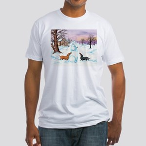 Snow Dachshunds Fitted T-Shirt