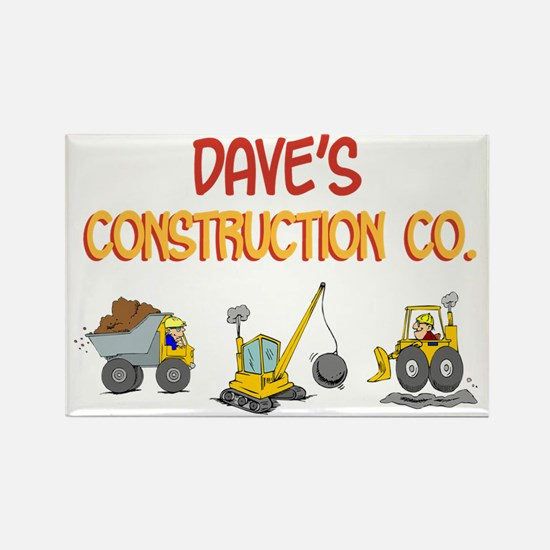 Dave's Construction Tractors Rectangle Magnet