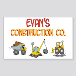 Evan's Construction Tractors Rectangle Sticker