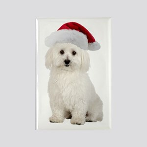 Bichon Frise Santa Rectangle Magnet