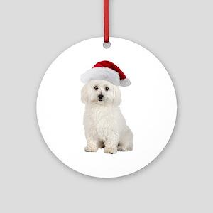 Bichon Frise Santa Ornament (Round)