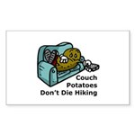 Couch Potato Hiking Rectangle Sticker 10 pk)
