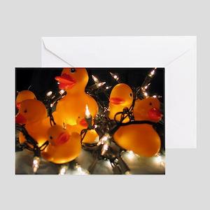 Holiday Lights Ducks Greeting Card