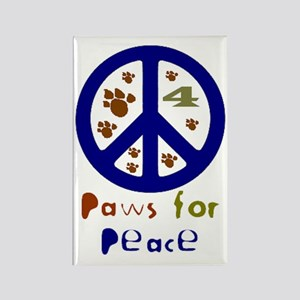 Paws for Peace Navy Rectangle Magnet