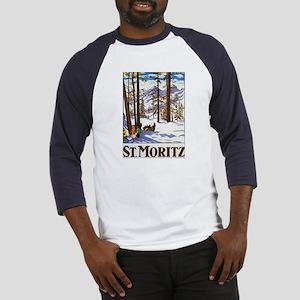 St Moritz Switzerland (Front) Baseball Jersey