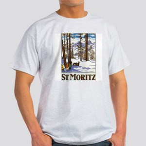 St Moritz Switzerland (Front) Ash Grey T-Shirt