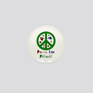 Paws For Peace Green Mini Button