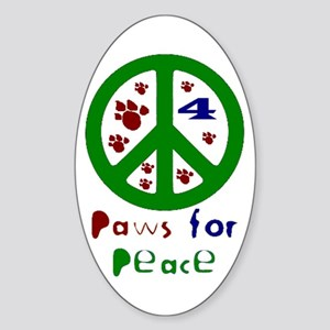 Paws For Peace Green Oval Sticker