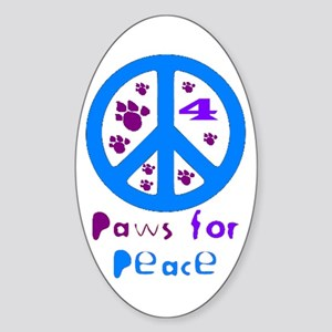 Paws for Peace Blue Oval Sticker