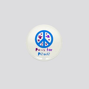 Paws for Peace Blue Mini Button