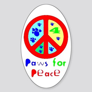 Paws for Peace Red Oval Sticker