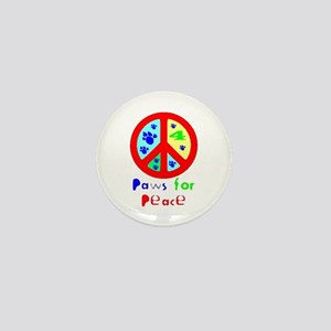 Paws for Peace Red Mini Button