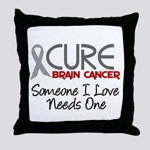CURE Brain Cancer 2 Throw Pillow