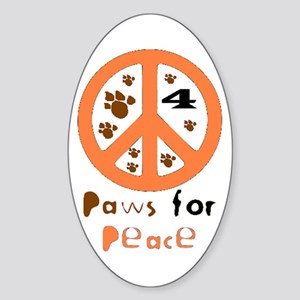 Paws for Peace Orange Oval Sticker