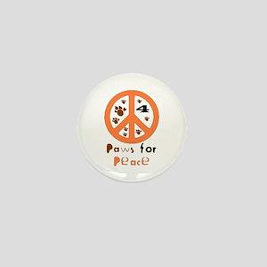 Paws for Peace Orange Mini Button
