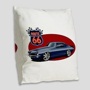Route 66 Camaro Burlap Throw Pillow