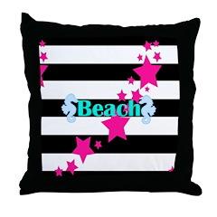 Girly Modern Beach Seashorses Throw Pillow