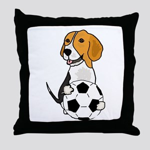 Funny Beagle Dog Playing Soccer Throw Pillow