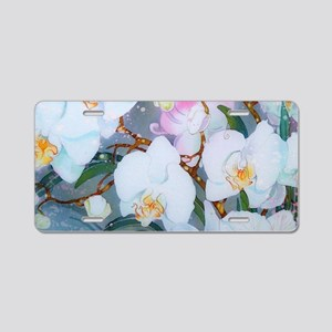 Silk White Orchids Aluminum License Plate