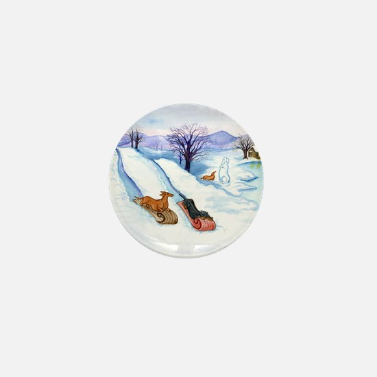 Sledding Dachshunds Mini Button