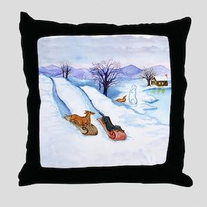 Sledding Dachshunds Throw Pillow