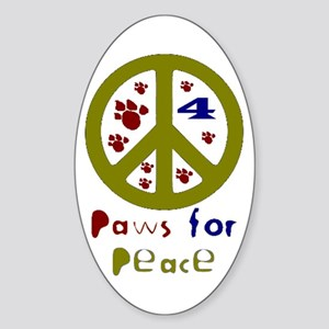 Paws for Peace Olive Oval Sticker