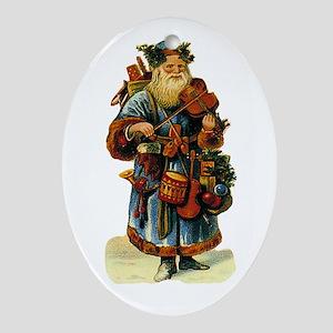 Vintage Santa with violin Oval Ornament