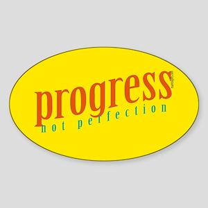 Progress, not perfection Oval Sticker