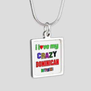 I Love My Crazy Dominican Silver Square Necklace