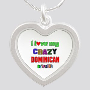 I Love My Crazy Dominican Bo Silver Heart Necklace