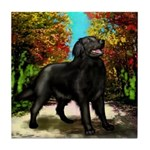 FLAT COATED RETRIEVER COUNTRY ROAD Tile Coaster