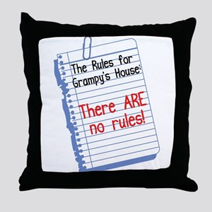 No Rules at Grampy's House Throw Pillow