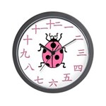 Pink Ladybug Chinese number Wall Clock