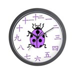 Purple Ladybug Chinese Number Wall Clock
