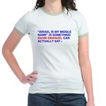 """Israel Is My Middle Name"" Jr. Ringer T-Shirt"