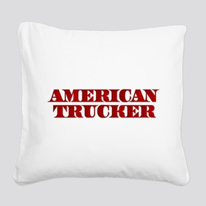 American Trucker Square Canvas Pillow