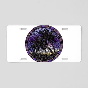 Purple Palms Aluminum License Plate