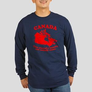 Poor Canada Long Sleeve Dark T-Shirt