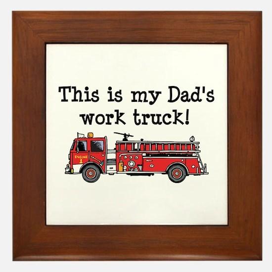 My Dad's Fire Truck Framed Tile