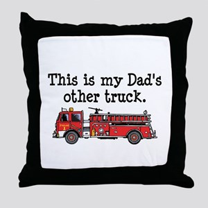 Dads Firetruck Throw Pillow