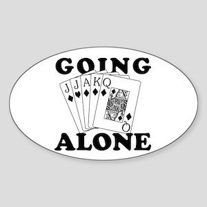 Euchre Going Alone/Loner Oval Sticker