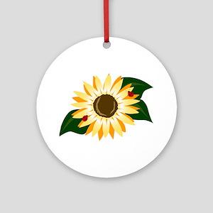 Sunflower & Ladybugs Keepsake (Round)