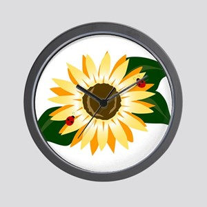 Sunflower & Ladybugs Wall Clock
