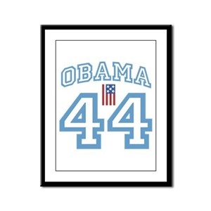 OBAMA 44 with Flag Framed Panel Print