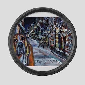 Basset Hound Holiday Large Wall Clock