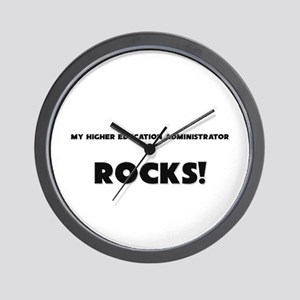 MY Higher Education Administrator ROCKS! Wall Cloc