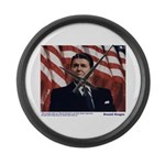 Reagan on Liberal Ignorance Large Wall Clock